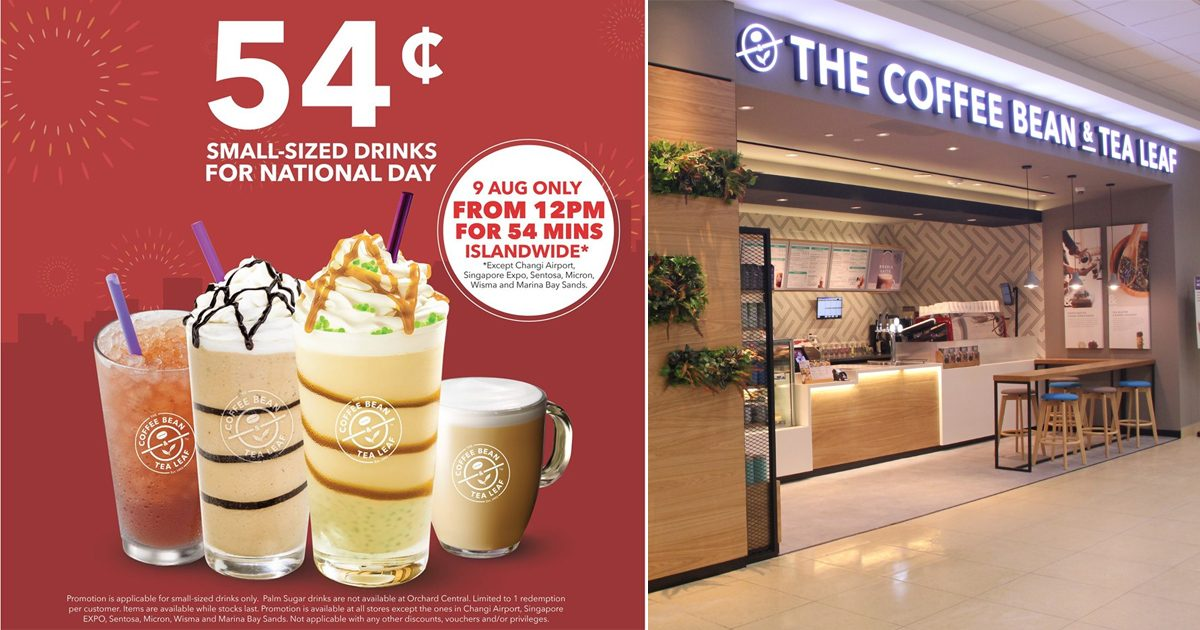 Coffee Bean celebrates National Day with S$0.54 drinks for only 54 minutes