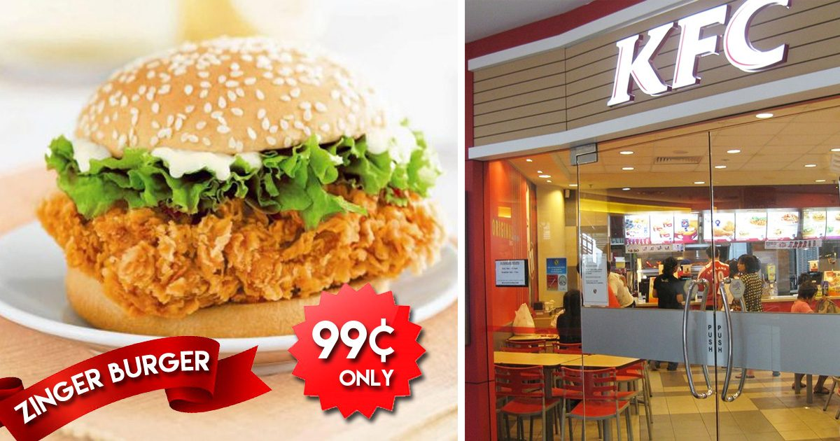 KFC Singapore is selling its Zinger Burger at S$0.99 for delivery orders till 31 August 2019