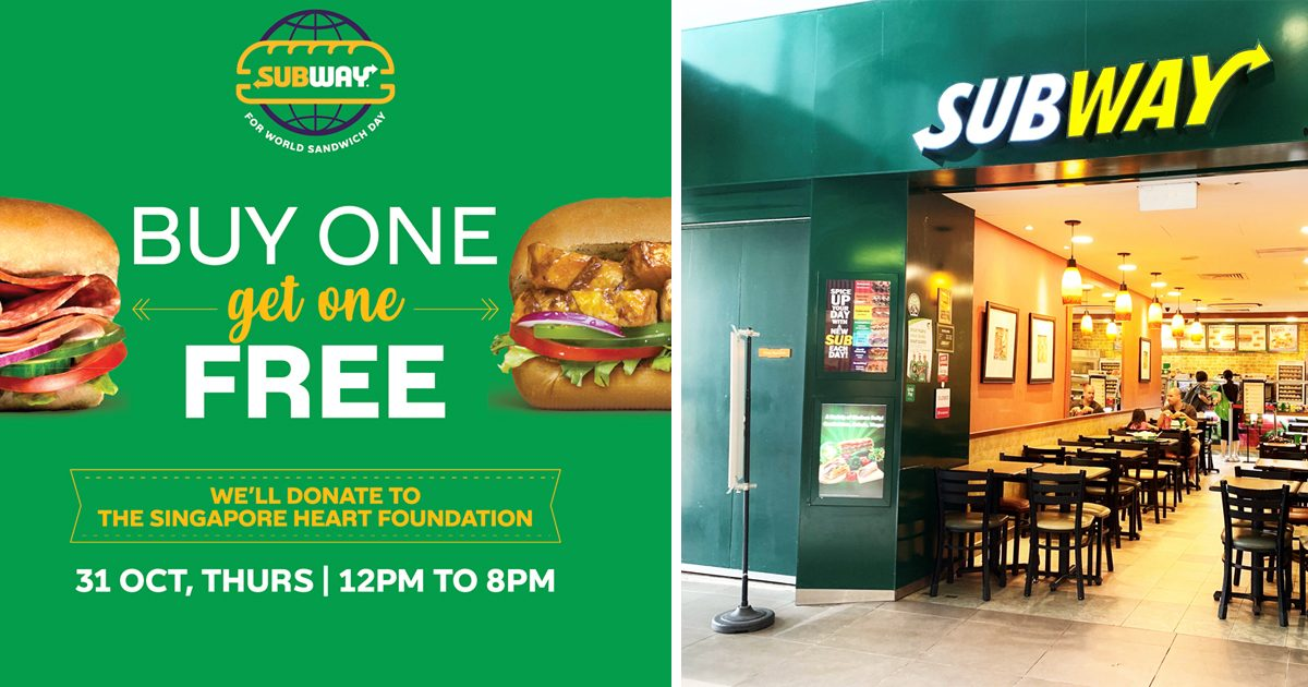Subway Singapore having a 1-For-1 6-inch subs promotion today