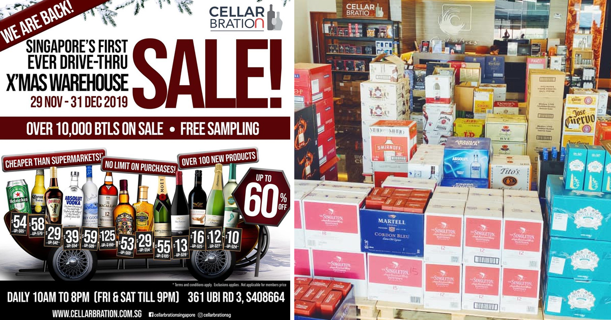 Ubi Warehouse offers more than half price on alcohol from 29 Nov to 31 Dec 2019