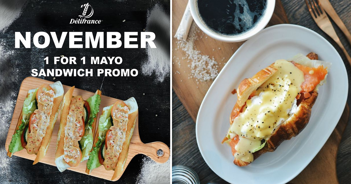 Delifrance Singapore offering 1-for-1 promotion for Mayo Sandwich till 29 Nov 2019
