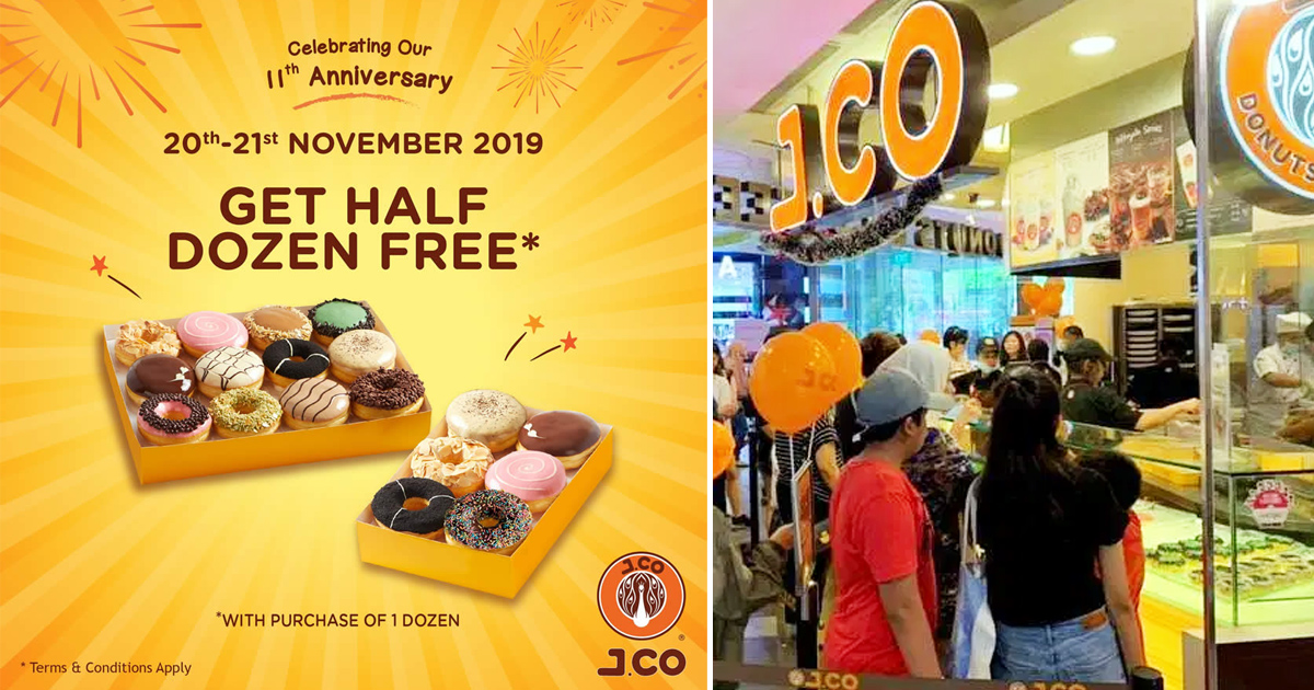 J.Co Donuts offering buy one dozen free half a dozen donut promotion for today and tomorrow