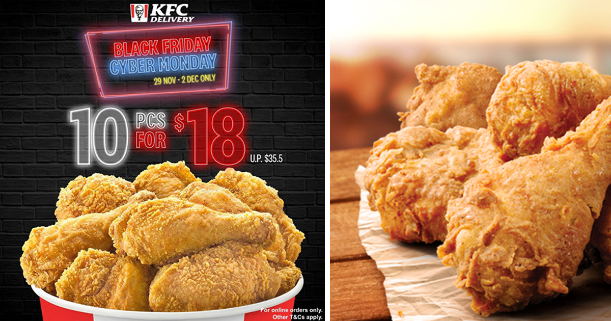 KFC Delivery offering 10 piece chicken for just S$18 (UP: S$35.50!) on Black Friday and Cyber Monday