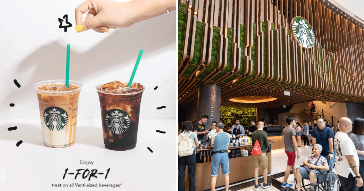Enjoy 1-for-1 on any Venti-sized handcrafted beverages from today till 28 Nov 2019