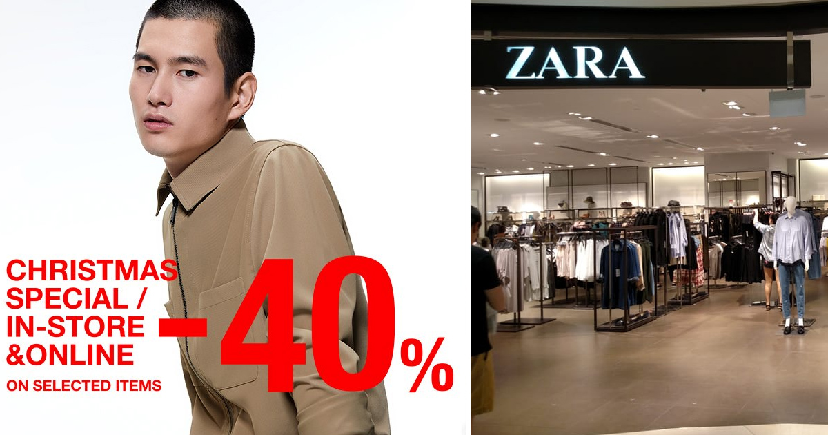 Zara Singapore Christmas Sale offers fixed 40% discount on items
