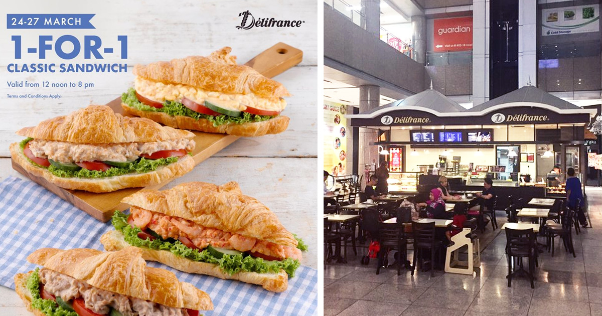 Delifrance offering 1-for-1 classic sandwiches from now till 27 March 2020