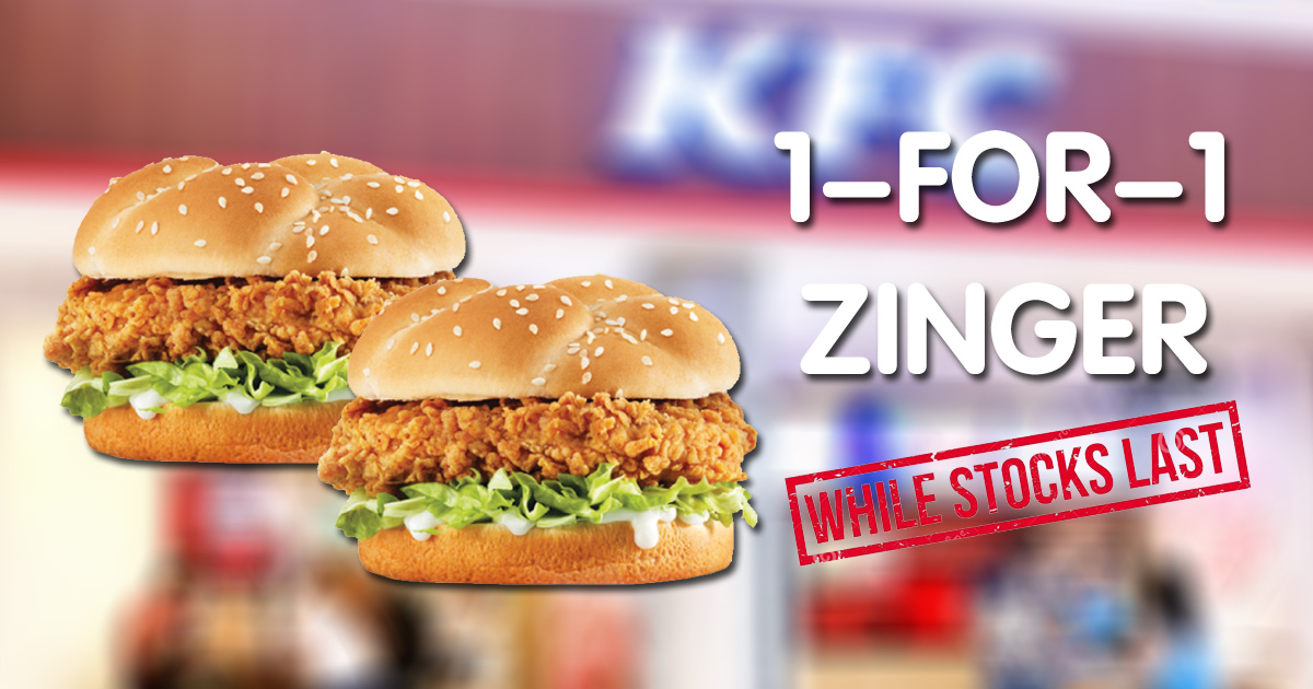 1-FOR-1 Zinger Burger for DBS/POSB Cardholders when you order KFC Delivery