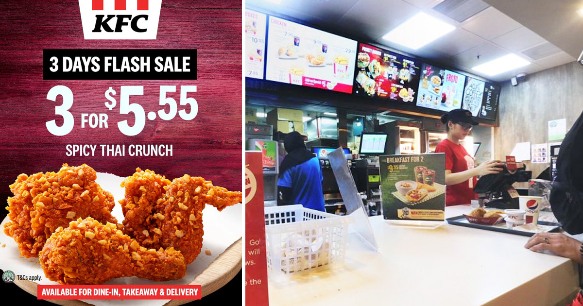 KFC Flash Deal: 3 pieces of Spicy Thai Crunch for S$5.55