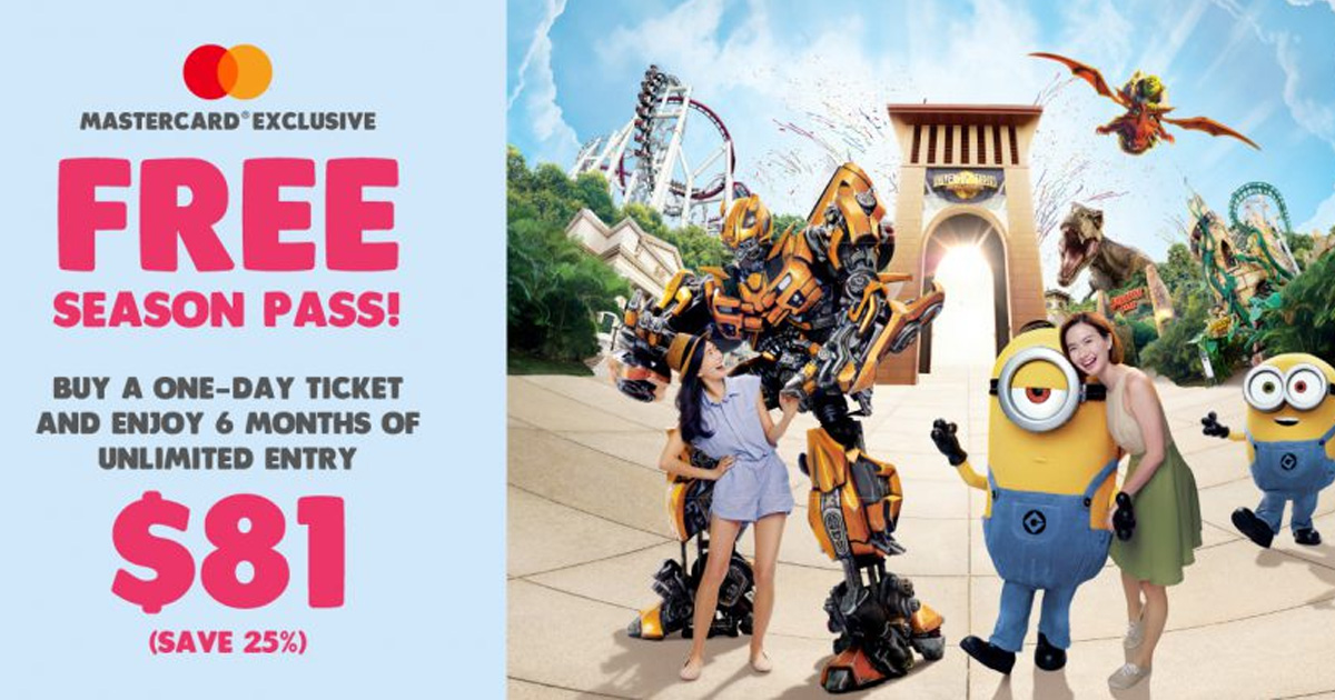 Universal Studios Singapore offering free 6 months unlimited admission pass with purchase of a one day ticket