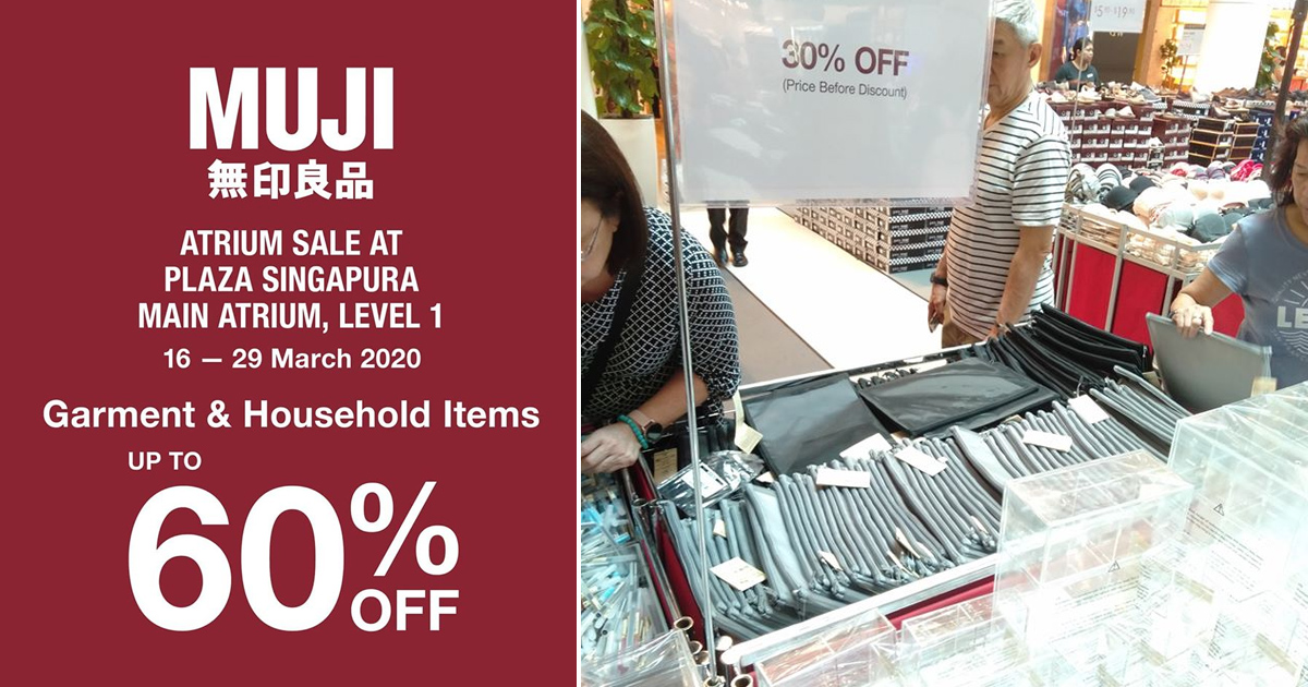 MUJI Atrium Sale at Plaza Singapura has discounts up to 60% from now till 29 March 2020