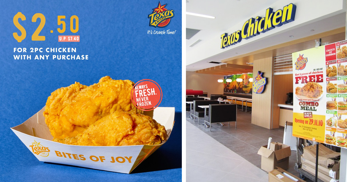 Texas Chicken deal: S$2.50 for two piece chicken with any purchase