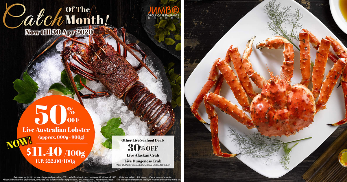 JUMBO Group of Restaurants offering 50% discounts on live seafood for April 2020