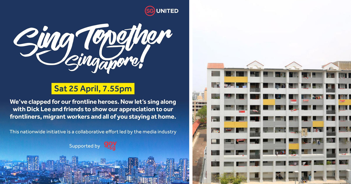 Singapore to singalong at windows & balconies on 25 April 2020, 7.55pm