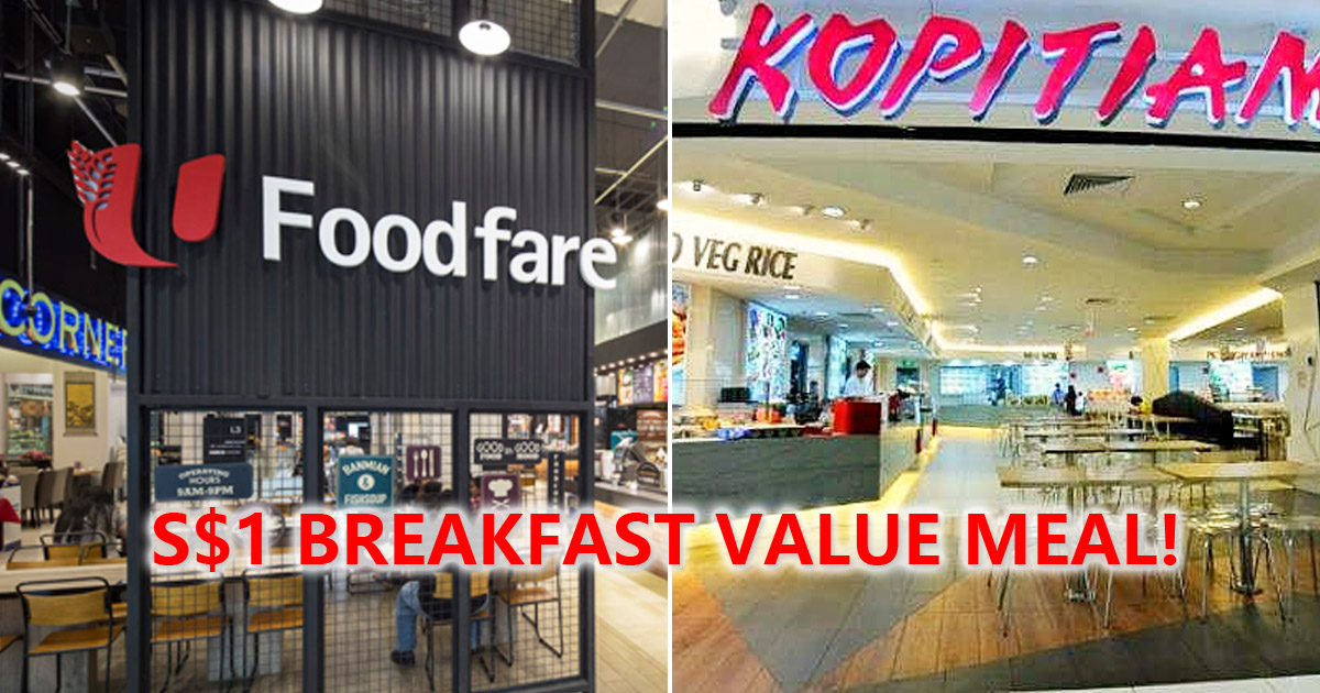 Kopitiam & NTUC Foodfare selling toast, egg and coffee breakfast value set at S$1