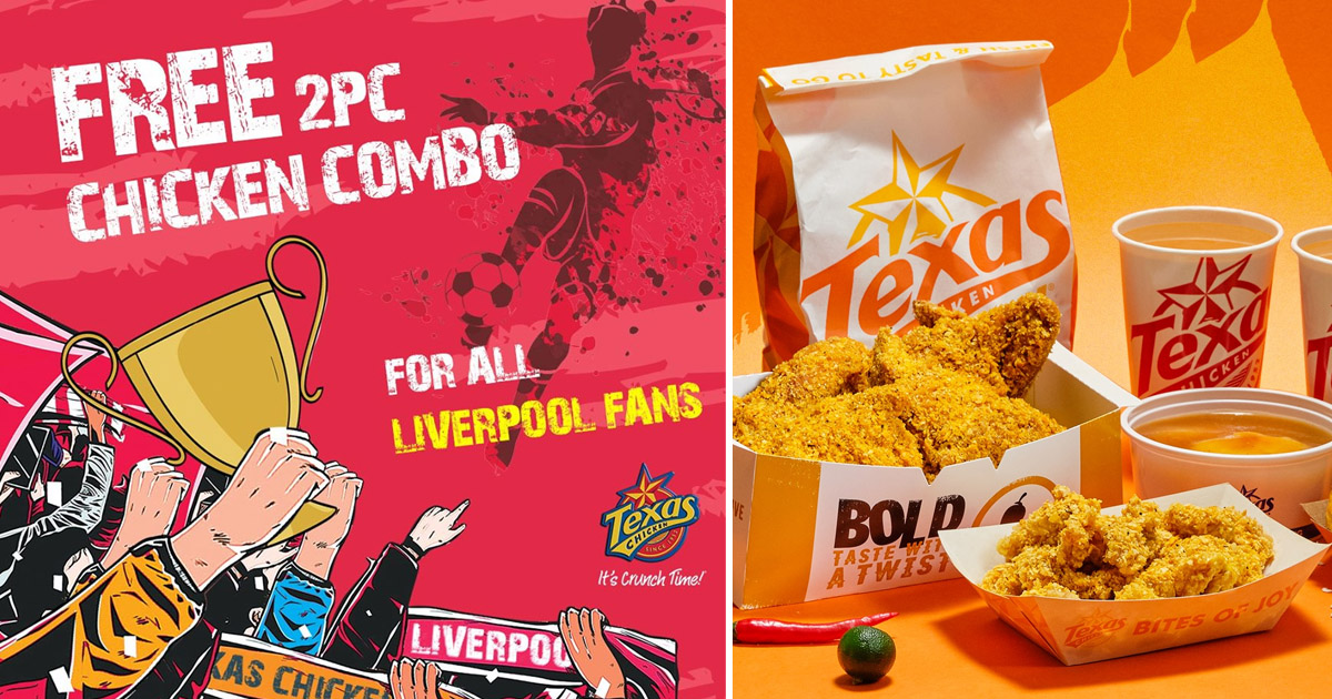 Texas Chicken celebrates Liverpool's Win by giving FREE 2-pc combo meal to anyone wearing Liverpool jersey today