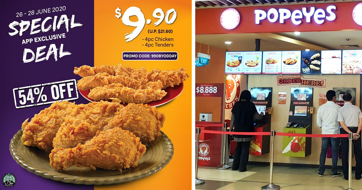 Popeyes Singapore Offering 4pcs Chicken & 4pcs Tenders at only S$9.90
