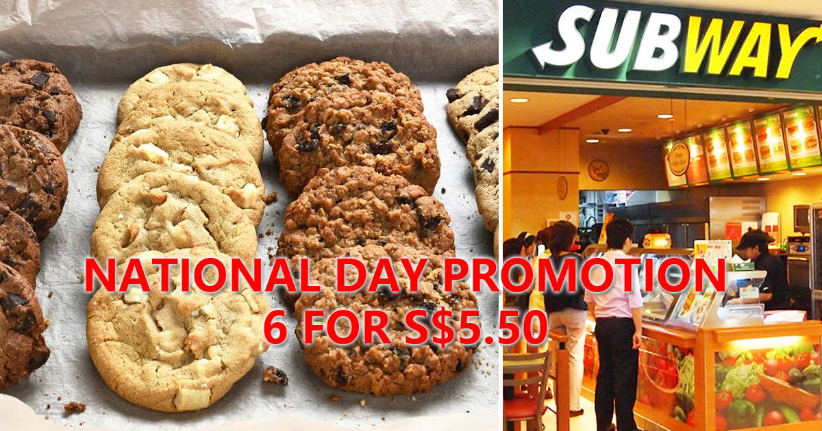 Subway celebrates Singapore's 55th Birthday with 6 cookies for S$5.50, till 10 August 2020