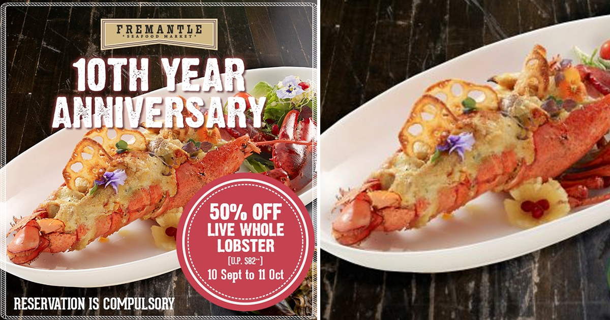 Fremantle Seafood Market Offers HALF PRICE discount for live whole lobster, till 11 Oct 2020