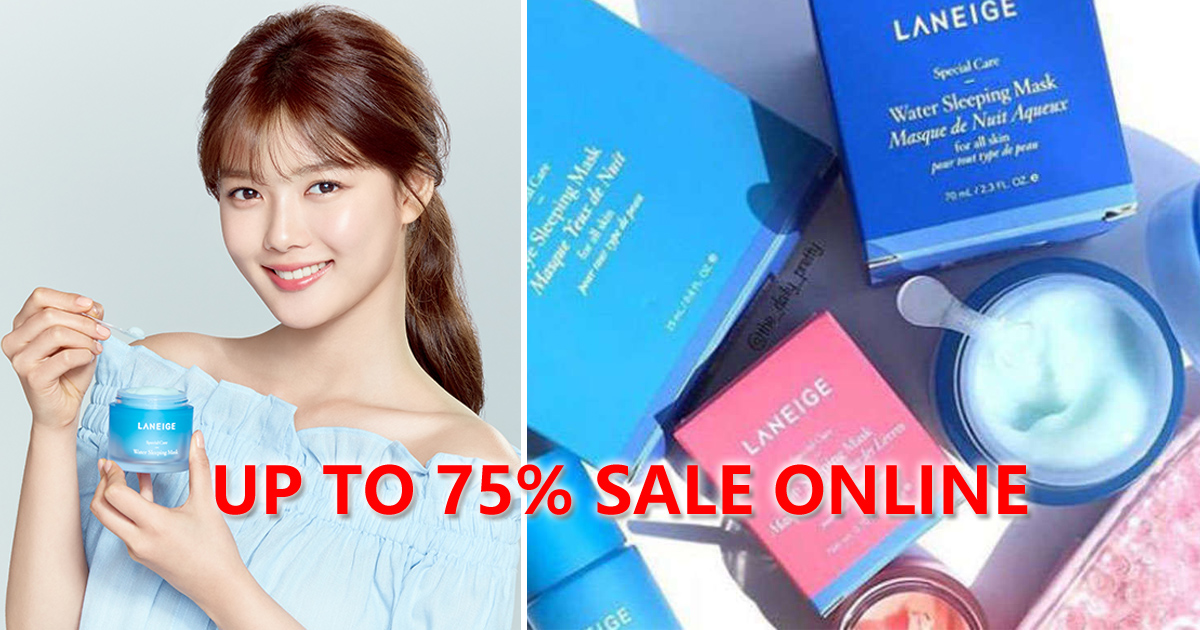 Laneige Online Sale offering discounts up to 75%, including skincare products as freebies