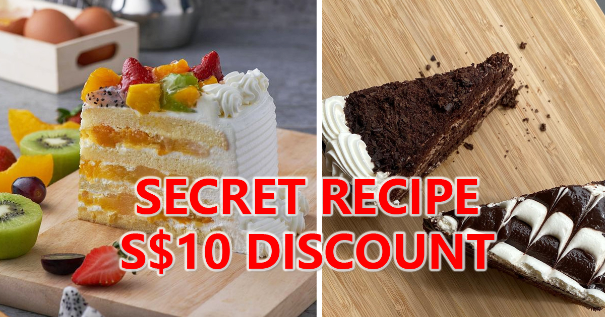 Secret Recipe Offering S$10 discount OFF whole cakes, valid for deliveries & takeaways