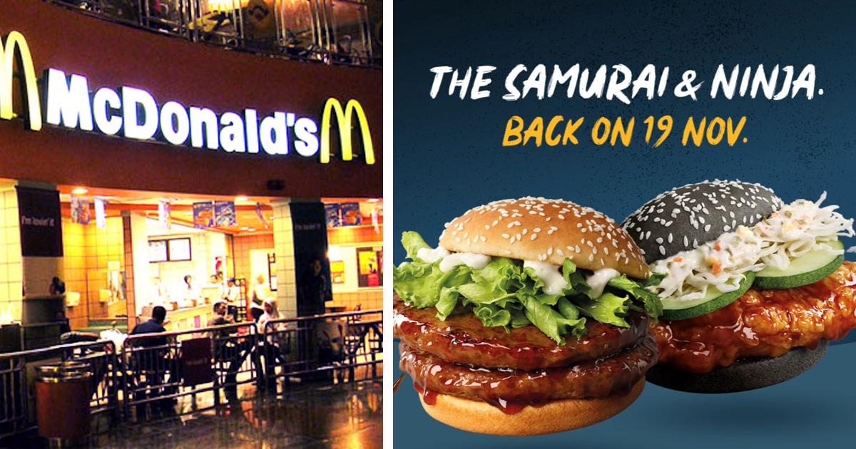McDonalds Singapore brings back Samurai & Ninja Burger, Seaweed Shaker Fries and Yuan Yang softserve to its menu, from 19 Nov 2020