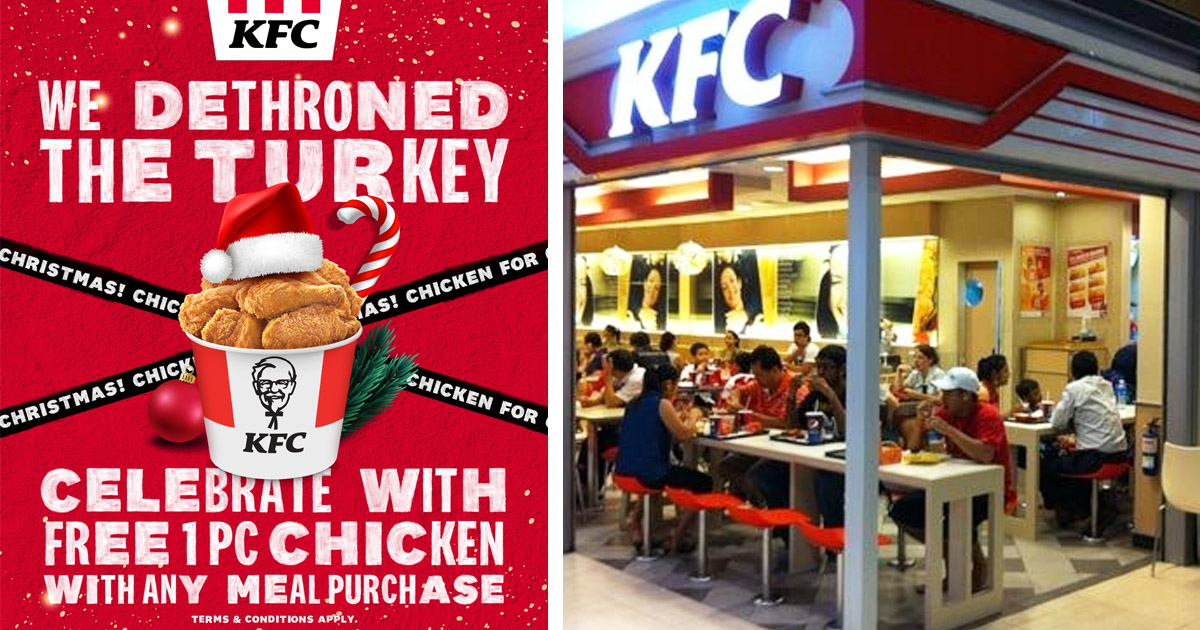 KFC Singapore celebrates Christmas with free 1pc chicken with any meal purchased