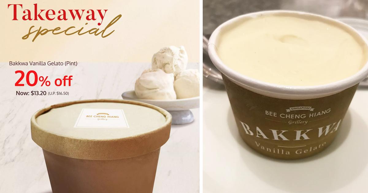 Bee Cheng Hiang Grillery offers 20% off Bakkkwa Vanilla Gelato