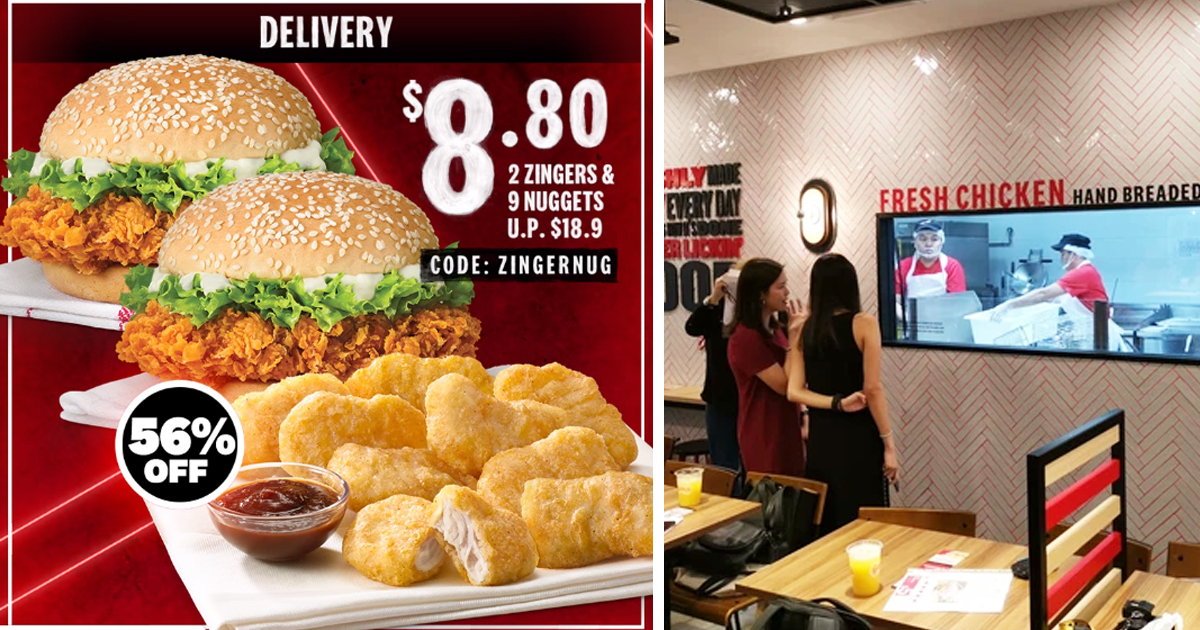 KFC Delivery Offers S$8.80 deal for two Zinger Burgers and 9 Nuggets, promotion ends 31 Jan 2021