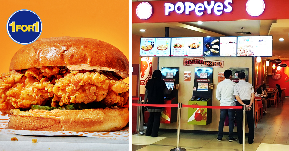 Popeyes S'pore 1-FOR-1 ALL DAY DEALS  on Burgers, Chicken and more, ends 30 Apr 2021