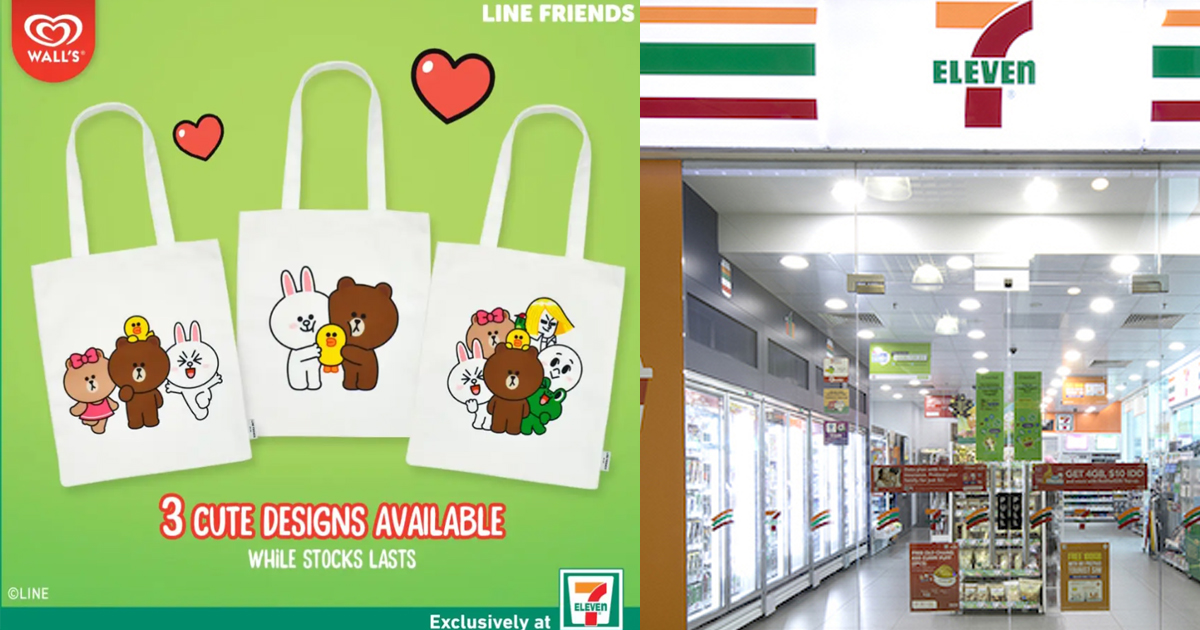 7-Eleven giving away FREE Line Friends tote bag with purchase of LINE Friends Ice Cream Sandwich