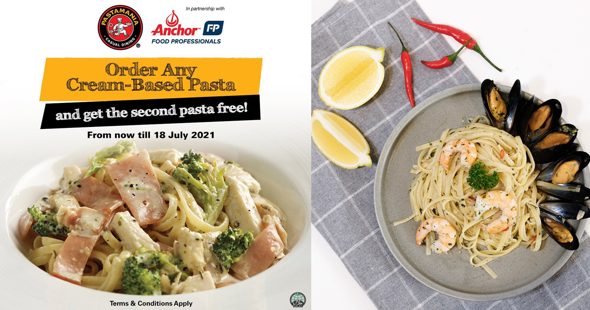 PastaMania launches 1-For-1 Pasta Deal: Order any Cream-based pasta and get the second pasta free, until 18 July 2021